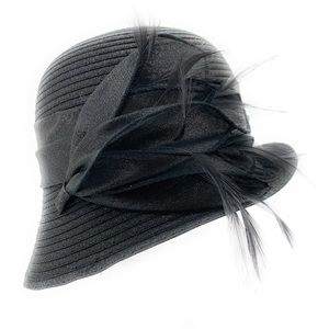 NEW August Hat Co. Black Feather Cloche Church Hat